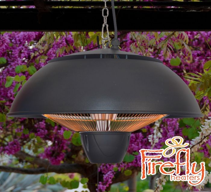 1.5kW IP34 Hanging Ceiling Black Electric Halogen Patio Heater by Firefly™