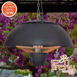 2kW IP34 Infrared Hanging Patio Heater in Black with Remote by Firefly™