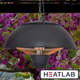 1.5kW IP34 Infrared Hanging Patio Heater inn Black by Heatlab®