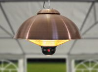 Firefly™ 2.1KW Ceiling Mounted Copper Electric Halogen Patio Heater - Three Heat Settings with Remote Control