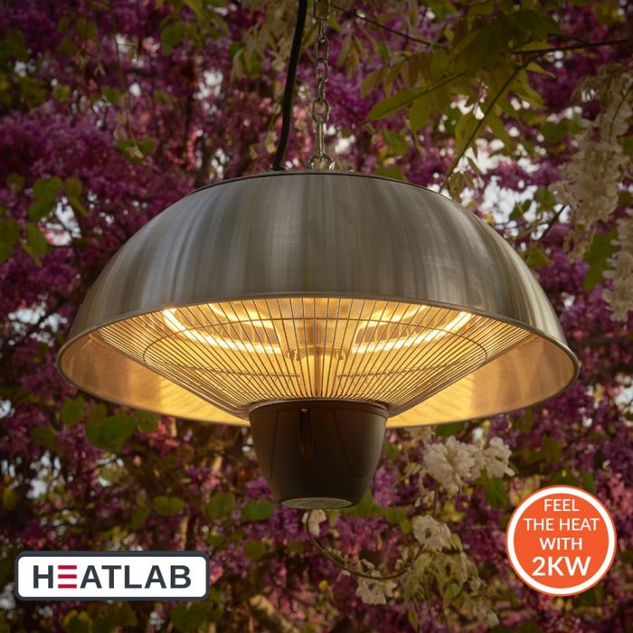 2kW IP34 Infrared Hanging Patio Heater in Stainless Steel with Remote by Heatlab®