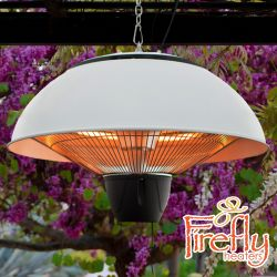 2kW IP34 Hanging White Halogen Patio Heater with Remote by Firefly™
