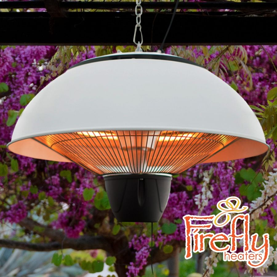 1.5kW IP34 Infrared Hanging Patio Heater in White by Firefly™
