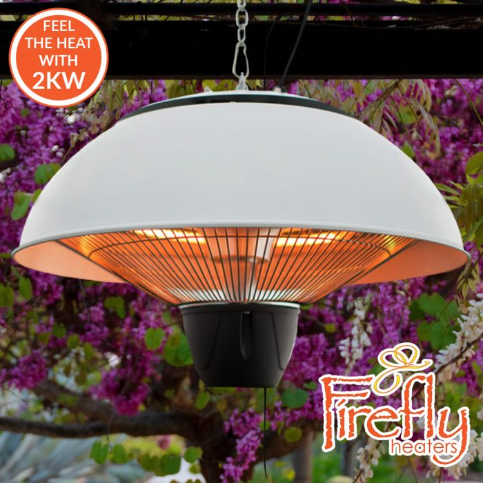 2kW IP34 Infrared Hanging Patio Heater in White with Remote by Firefly™