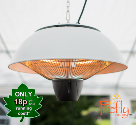 1.5kW IP34 Hanging Ceiling White Electric Halogen Patio Heater by Firefly™