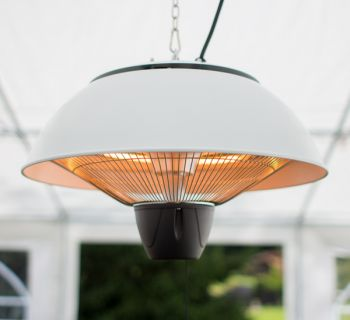 1.5KW Hanging Ceiling White Electric Halogen Patio Heater by Firefly™