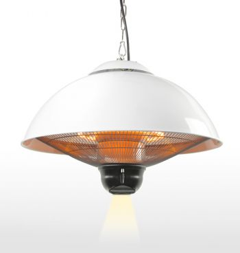 Firefly™ 2.1KW Ceiling Mounted White Electric Halogen Patio Heater - Three Heat Settings with Remote Control
