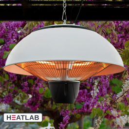 1.5kW IP34 Infrared Hanging Patio Heater in White by Heatlab®