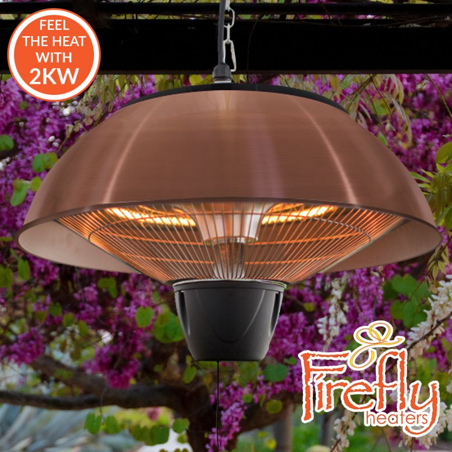 2kW IP34 Infrared Hanging Patio Heater in Copper with Remote by Firefly™