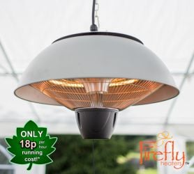 1.5kW Hanging Ceiling Silver Halogen Bulb Electric Infrared Patio Heater by Firefly™