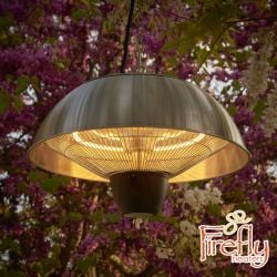 1.5kW IP34 Hanging Ceiling Stainless Steel Halogen Bulb Electric Infrared Patio Heater by Firefly™