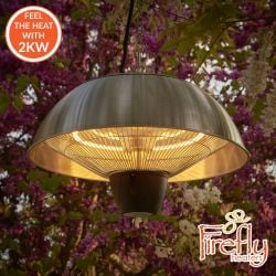 2kW IP34 Infrared Hanging Patio Heater in Stainless Steel with Remote by Firefly™