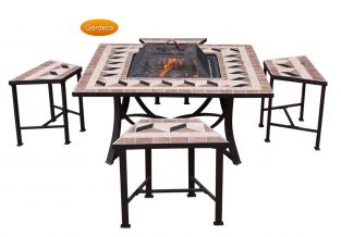 Lomond 100cm Square Fire Bowl Table with 4 Seats