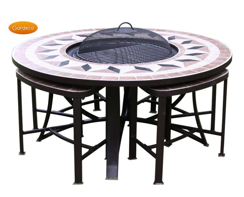 Aefelina 100cm round fire bowl table with 4 seats for Round table 99