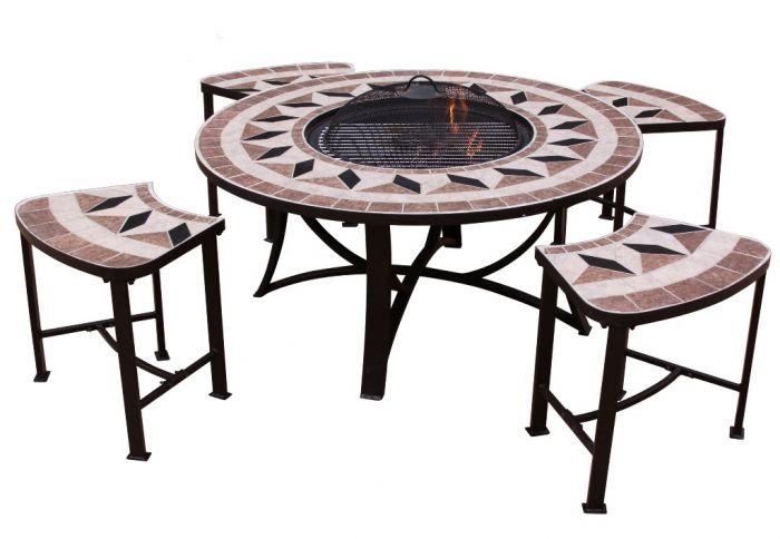 Aefelina 100cm Round Fire Bowl Table with 4 Seats