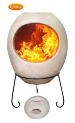 Ellipse Glaze Effect Clay Chiminea by Gardeco™