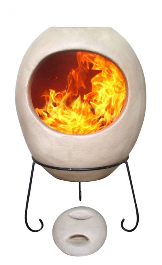 Ellipse Glaze Effect Clay Chiminea By Gardeco - Beige - H90cm x W54cm