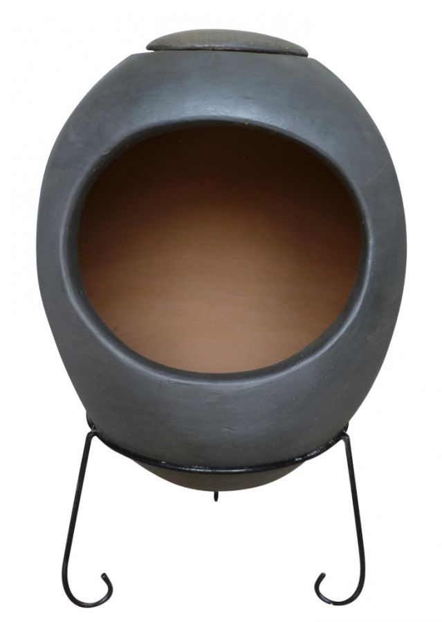 Ellipse Glaze Effect Clay Chimenea By Gardeco - Charcoal - H65cm x W32cm