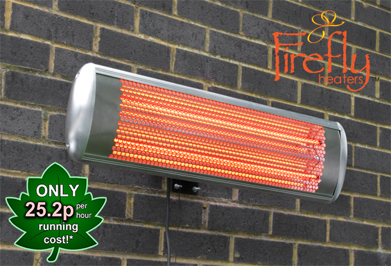 1.8kW IP55 Halogen Bulb Electric Infrared Wall Mounted Heater with Remote Control by Firefly™