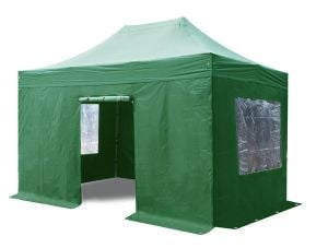 Standard 3m x 4.5m Foldable Pop Up Steel Gazebo Set In Green - Complete with Carry Bag