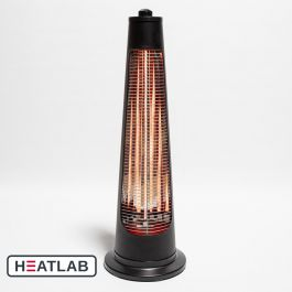 900W IPX4 Streamline Rotating Electric Quartz Bulb Heater with 2 Power Settings by Heatlab®