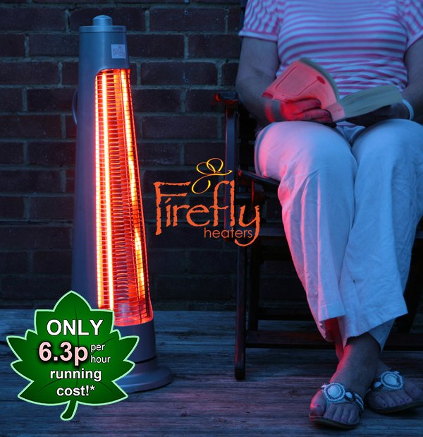 Firefly™ 900W Streamline Rotating Electric Quartz Bulb Heater with 2 Power Settings