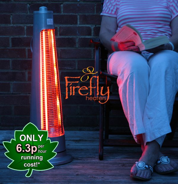 900W IPX4 Streamline Rotating Patio Heater with 2 Power Settings by Firefly™