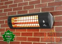 Firefly� 1.8kW Wall Mounted Quartz Bulb Electric Infrared Heater with 3 Power Settings