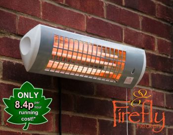1.8kW Wall Mounted Quartz Bulb Electric Tube Heater with 3 Power Settings by Firefly™