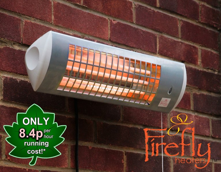 1.8kW IPX4 Wall Mounted Quartz Bulb Electric Tube Heater with 3 Power Settings by Firefly™