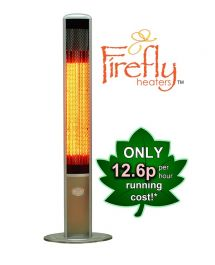 1.8kW IP55 Halogen Bulb Electric Infrared Slimline Patio Heater with Remote by Firefly™