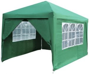 Budget 3m x 3m Foldable Pop Up Gazebo Tent with Sidewalls and Doors - Green