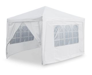 Portable Budget 3m x 3m Foldable Pop Up Gazebo Tent with Sidewalls and Doors - White