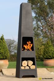 Malmo Steel Chimenea with Log Store - H150cm x W36cm