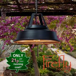 1.5kW IPX4 Vintage Style Hanging Ceiling Electric Patio Heater in Black by Firefly™