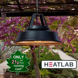 1.5kW IPX4 Vintage Style Hanging Ceiling Electric Patio Heater in Black by Heatlab®