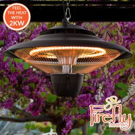 2kW IP34 Infrared Hanging Patio Heater in Black with Remote by Heatlab®