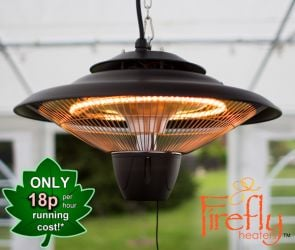 1.5kW IP24 Hanging Ceiling Halogen Bulb Infrared Electric Patio Heater in Black by Firefly™