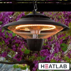 1.5kW IP34 Infrared Hanging Patio Heater in Black by Heatlab®