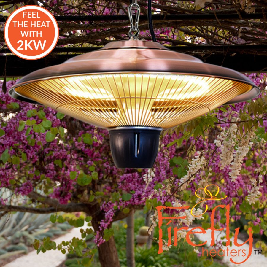 2kW IP34 Infrared Hanging Patio Heater in Copper with Remote by Heatlab®
