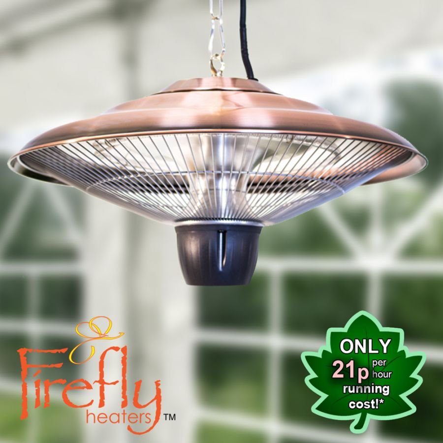 1.5kW IP24 Hanging Ceiling Halogen Bulb Infrared Electric Patio Heater in Copper by Firefly™