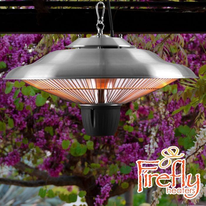 1.5kW IP34 Infrared Hanging Patio Heater in Stainless Steel by Firefly™