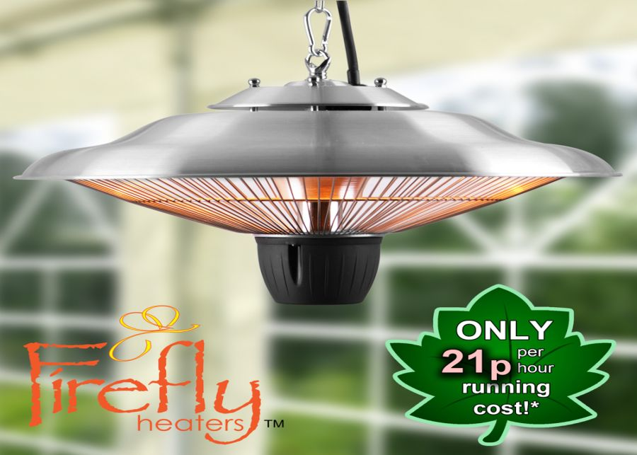 1.5kW IP24 Hanging Ceiling Halogen Bulb Infrared Electric Patio Heater in Stainless Steel by Firefly™