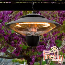 1.5kW IP24 Hanging Ceiling Halogen Bulb Infrared Electric Patio Heater in Grey by Firefly™