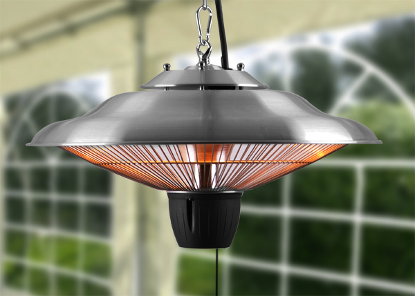 1.5kW Hanging Ceiling Halogen Bulb Infrared Electric Patio Heater in Stainless Steel by Firefly™