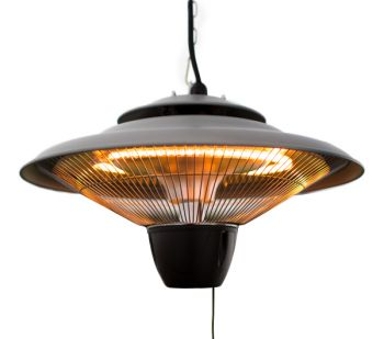 1.5kW Hanging Ceiling Halogen Bulb Infrared Electric Patio Heater in Grey by Firefly™