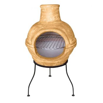 Cozumel 2 Part Chimenea with Grill By Gardeco - Yellow H70cm x D36cm