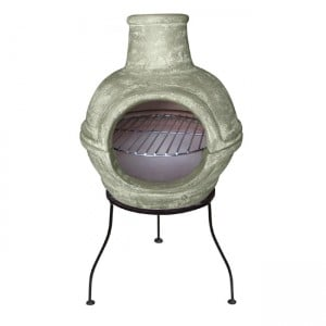 Cozumel 2 Part Chiminea with Grill By Gardeco - Green H70cm x D36cm