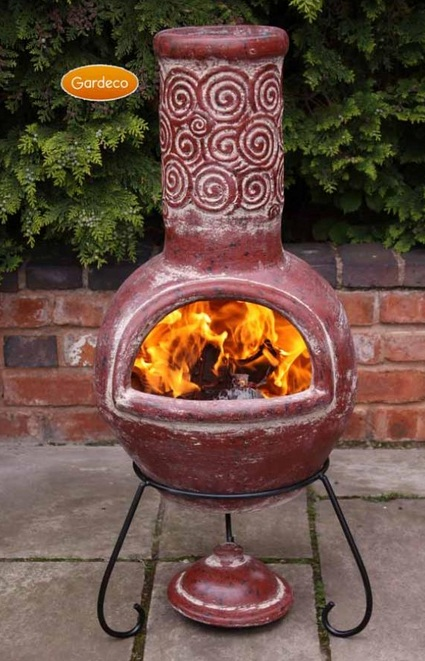 Espiral Clay Chiminea By Gardeco - H110cm x D45cm