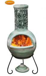 Flor Green and Black Clay Chimenea By Gardeco